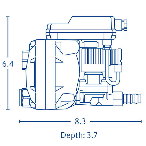 Drawing showing the dimensions of a BEKOMAT 13 condensate drain.