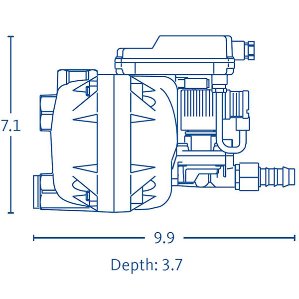 Drawing showing the dimensions of a BEKOMAT 14 condensate drain.