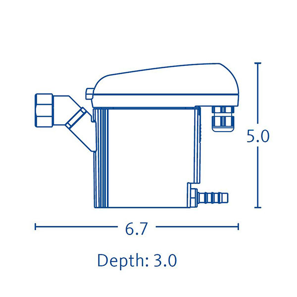 Drawing showing the dimensions of a BEKOMAT 32 condensate drain.