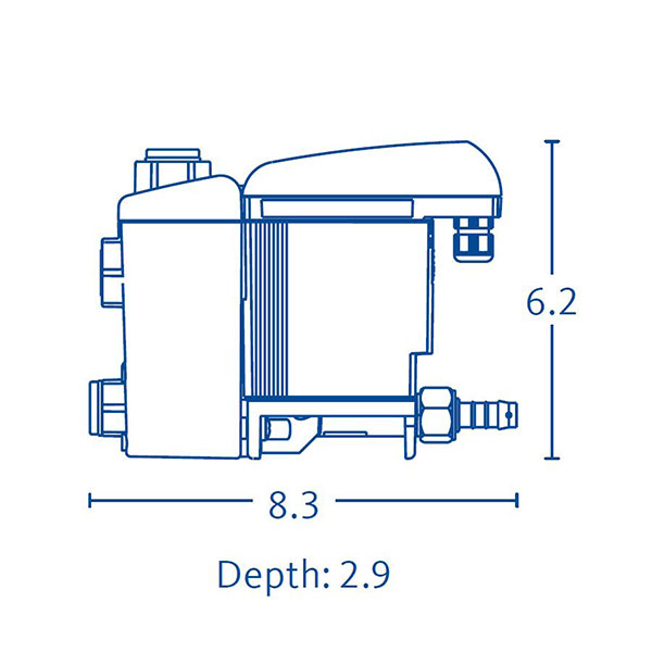 Drawing showing the dimensions of a BEKOMAT 33 condensate drain.